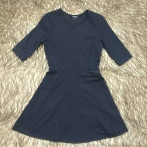 TOPSHOP Black Fit and Flare Half Sleeve Dress